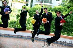 groomsmen with bridesmaid's flowers.  yes.