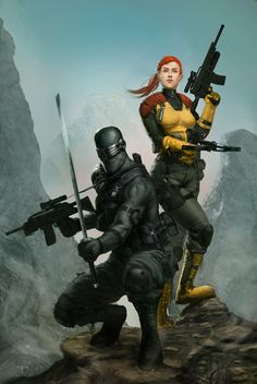 Joe - Snake Eyes & Scarlett by Angel Palacios Thundercats, Comic Books Art, Comic Art, Book Art, Gi Joe Scarlett, Snake Eyes Gi Joe, Storm Shadow, Nostalgia, Gi Joe Cobra