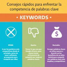 No eres el mejor seleccionado las Keywords para posicionar tu sito? Aprende de estos consejos rápidos para enfrentar la competencia por palabras clave en la web. #optimizaciononline #seo #keywords