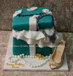 Tiffany box and shoe cake - by House of Cakes Dubai @ CakesDecor.com - cake decorating website