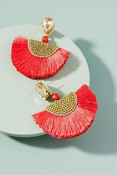 Add a statement to your look with earrings from Anthropologie. Discover our collection of unique hoop, drop, chandelier, cluster and post earrings for women. Silk Thread Earrings, Thread Jewellery, Red Earrings, Tassel Jewelry, Fabric Jewelry, Beaded Earrings, Statement Earrings, Diy Jewelry, Handmade Jewelry