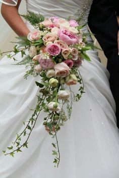 Blush Cascading bouquets | blush wedding