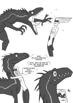 I Watched Two Movies, Here You Go by NazRigar on DeviantArt Jurassic World Dinosaurs, Jurassic Park World, Dinosaur Funny, Dinosaur Art, Cute Comics, Funny Comics, Mythical Creatures, Fantasy Creatures, Jurrassic Park