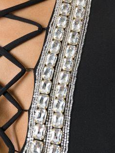 Balmain lace neck detail dress