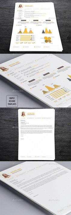 Simple Resume Template PSD #design Download: http://graphicriver.net/item/simple-resume-templates/13288956?ref=ksioks