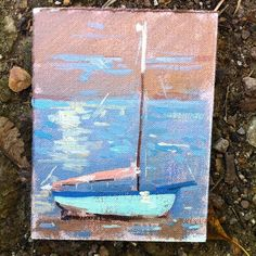 Tiny oil painting of a sailing boat.  Oil on linen.  Artist; Charlotte Partridge