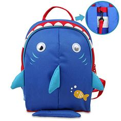 Kids' Backpacks - Yodo Kids Insulated Toddler Backpack with Safety Harness Leash and Name Label  Playful Preschool Lunch Boxes Carry Bag Navy Shark * Details can be found by clicking on the image.