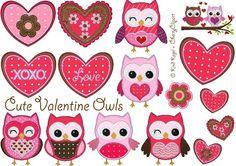 10x10 Stickdateien Valentine Cute Owls Set von kindundkegel-shop auf DaWanda.com