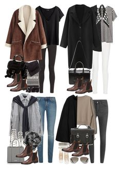 """""""How to style brown Chelsea boots for the fall and winter"""" by nikka-phillips ❤ liked on Polyvore featuring AG Adriano Goldschmied, H&M, Proenza Schouler, Cheap Monday, Equipment, Rockins, Yves Saint Laurent, Forever 21, Rebecca Minkoff and MANGO"""