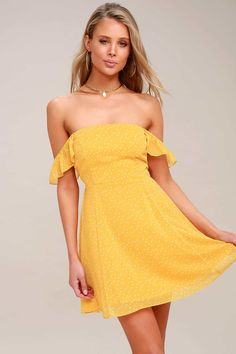 88246ef5ecf 40 Cute Summer Sundresses Under  100. Yellow Mini SkirtFlared ...