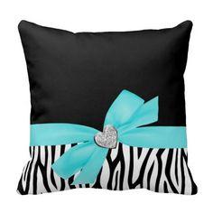 Teal Blue Bow Diamond Heart Pillow just damask instead of zebra print Blue Bow, Teal Blue, Blue Ribbon, Designer Throw Pillows, Decorative Throw Pillows, Buy Pillows, Applique Pillows, Velvet Pillows, Girl Room