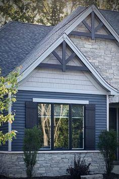 Modern Craftsman Exterior Veneer Stone Home Masonry Stone Facade Craftsman Home Exterior, Stone Exterior Houses, Modern Craftsman, Cottage Exterior, House Paint Exterior, Exterior House Colors, Stone Houses, Blue House Exteriors, Stone Home Exteriors