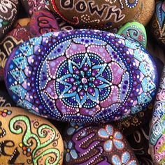 Purples and blues #rockart #rockpainting #mandala #meditation #mindfulness…