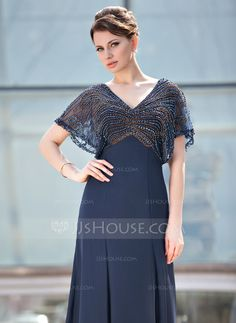 A-Line/Princess V-neck Floor-Length Chiffon Tulle Mother of the Bride Dress With Beading (008018938)