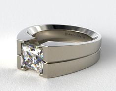 14K White Gold Wide Squared Tension Set Engagement Ring