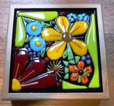 My Fused Glass Flower Garden box Fused Glass Plates, Fused Glass Art, Stained Glass Art, Mosaic Glass, Slumped Glass, Dichroic Glass, Glass Fusion Ideas, Glass Fusing Projects, Stained Glass Flowers