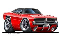 1973 1974 Dodge Charger Muscle Car Cartoon T-Shirt automotive art Red Sports Car, Sport Cars, Weird Cars, Cool Cars, Car Art, Hot Rods, Cool Car Drawings, Automotive Art, Us Cars
