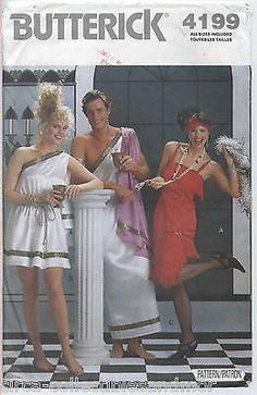Grecian Toga Roaring 20s Flapper Costumes Butterick Sew Pattern 4199 Uncut XS-L