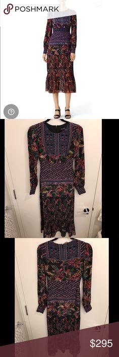 Saloni Printed Pleated Dress Saloni Printed Pleated dress! Fall 2016 never worn Vera Dress. Saloni Dresses Maxi