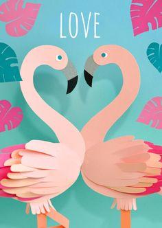 Leuke liefdeskaart met flamingo's, verkrijgbaar bij #kaartje2go voor €1,89