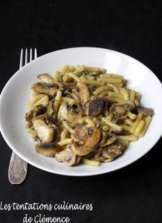 Macaroni aux champignons, gésiers et pesto de noix