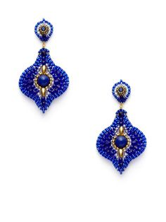 Blue Bead Jade Lotus Petal Earrings by Miguel Ases
