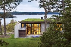 The Pierre, a modern home designed by Olson Kundig, was built into the rocky landscape of a remote island in the Pacific Northwest