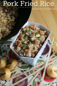 Skip take out and make your own Pork Fried Rice at home! It's simple, easy and delicious! Add some Fortune Cookies and you have a fun dinner! Pin to your Recipe Board!