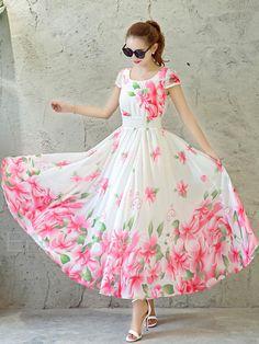 Ericdress Flower Print Expansion Round Neck Short Sleeve Maxi Dress 3