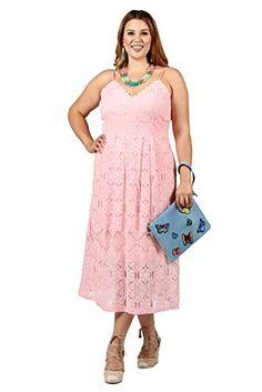 3eecfbf13f Xehar Curvy Womens Plus Size Outfits - Farah Sleeveless Crochet Dress