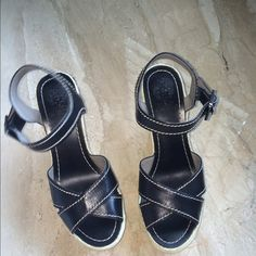 Vince Camuto black wedges Only worn once. Great condition Vince Camuto Shoes