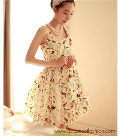 Cherry KOKO dress ชุดเดรสแฟชั่น แขนกุด เดรสผ้าชีฟอง ใส่ทำงาน สีครีม ลายแฟชั่น ใส่ออกงานได้ น่ารักมากๆ ค่ะ www.asiastreetfashion.com