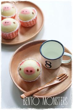 Piggy Steam Cakes by Bento Monster Steamed Cake, Steamed Buns, Cupcakes, Cupcake Cakes, Pavlova, Steam Cake Recipe, Piggy Cake, Delicious Desserts, Yummy Food