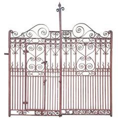 Pair of Antique Iron Driveway or Garden Gates