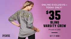Online Exclusive—Today Only! $35 Bling Varsity Crew. Priced in USD. Get it now.