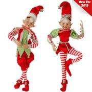 "Raz 16"" Large Posable Red White and Green Elf Ornament 3502432"