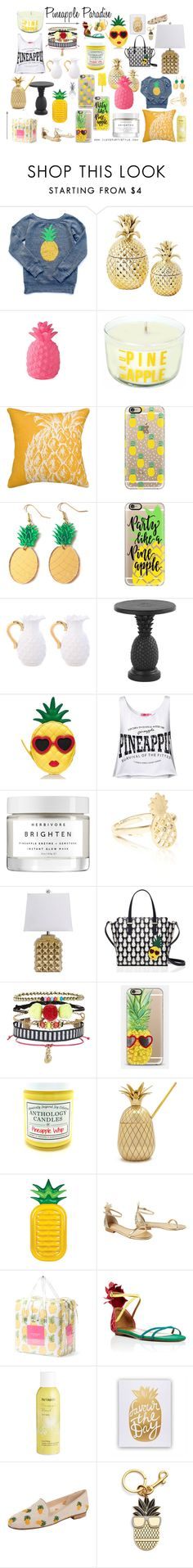 """Pineapple Paradise"" by ilovepartystyle on Polyvore featuring Modern Alchemy, Ballard Designs, Casetify, Tommy Bahama, Kate Spade, Accessorize, New Look, Sunnylife, Lilly Pulitzer and Aquazzura"