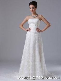 Bowknot Column Strapless Brush Train Exquisite Lace Wedding Dresses