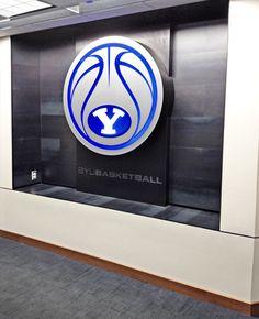 BYU Basketball LED logo - Branding in BYU Locker Room by Dave Broberg