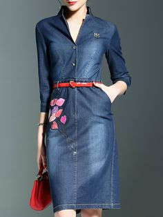 2bb4f1d4292 Blue V Neck Print Belted Pockets Denim Dress. Denim Dresses OnlineJeans  DressDress PPocketsFashion OnlineBeltV NeckWomens Denim DressDenim Shirts