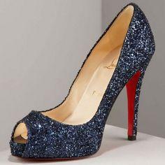 sparkly navy peep toe wedding shoes <3