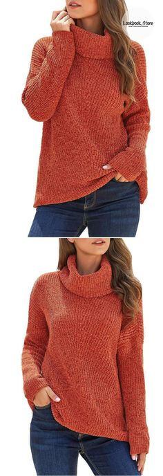 Winter Style // Reveal your stylishness even when it starts to get cold as you own this rust turtleneck velvet cable knit pullover sweater.