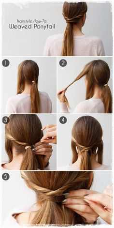 35 Very Easy Hairstyles to do in Just 5 Minutes or Less Short Hair Ponytail, Twist Ponytail, Ponytail Hairstyles, Diy Hairstyles, Ponytail Updo, Hairstyle Tutorials, Ponytail Tutorial, Ponytail Styles, Updo Hairstyle
