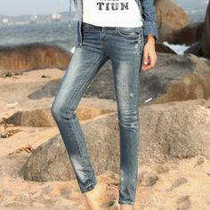 Hot Sale High Quality Slim Elastic Jean Pants Blue