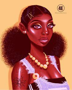 Black girl cartoon, black girls, black girl art, black women art, b Sexy Black Art, Black Love Art, Beautiful Black Girl, Black Girl Art, Black Girl Magic, Pretty Black, Female Lips, Female Art, Drawings Of Black Girls