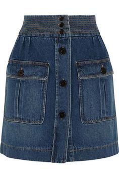 Editor's Pick: A button-front denim skirt for every budget - Chloé Stonewashed… Button Front Denim Skirt, Denim Mini Skirt, Mini Skirts, Dree Hemingway, Jean Délavé, Alexa Chung, Denim Fashion, Style Fashion, Skirt Outfits
