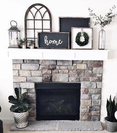 Above Fireplace Decor, Farmhouse Fireplace Mantels, Brick Fireplace Makeover, Home Fireplace, Fireplace Remodel, Fireplace Design, Fireplaces, Window Frame Decor, Chimney Decor