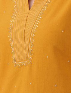 Mustard Zari-embroidered Cotton Kurta - All About Neck Designs For Suits, Neckline Designs, Dress Neck Designs, Blouse Designs, Kurta Designs Women, Salwar Designs, Anarkali, Saree, Cochin