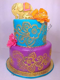 Bollywood theme baby shower cake