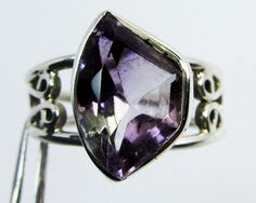FACETED AMETHYST FREEFORM SILVER RING SIZE   9.5 GG1036